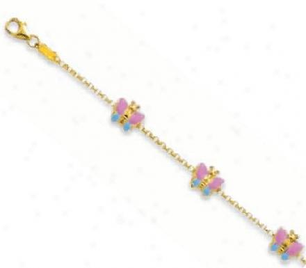 Enamel Childrens Butterfly Bracelet