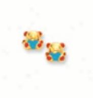 Enamel Childrens Teddybear Earrings