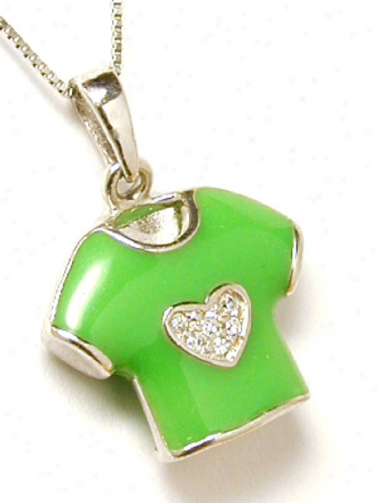 Enamel Green And Cubic Zirconia Charm Pendant