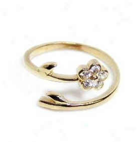 Flower Cubic Zirconia Cz Bypass Adjustable Toe Ring