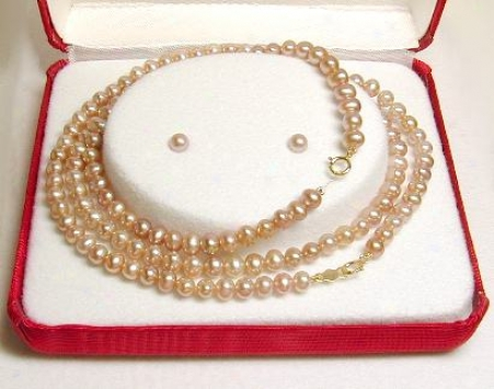 Fw Pink Pearl Bracelet, Necklace & Earring Set