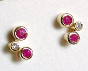Geometric Bezel Ruby & Diamond Earrings