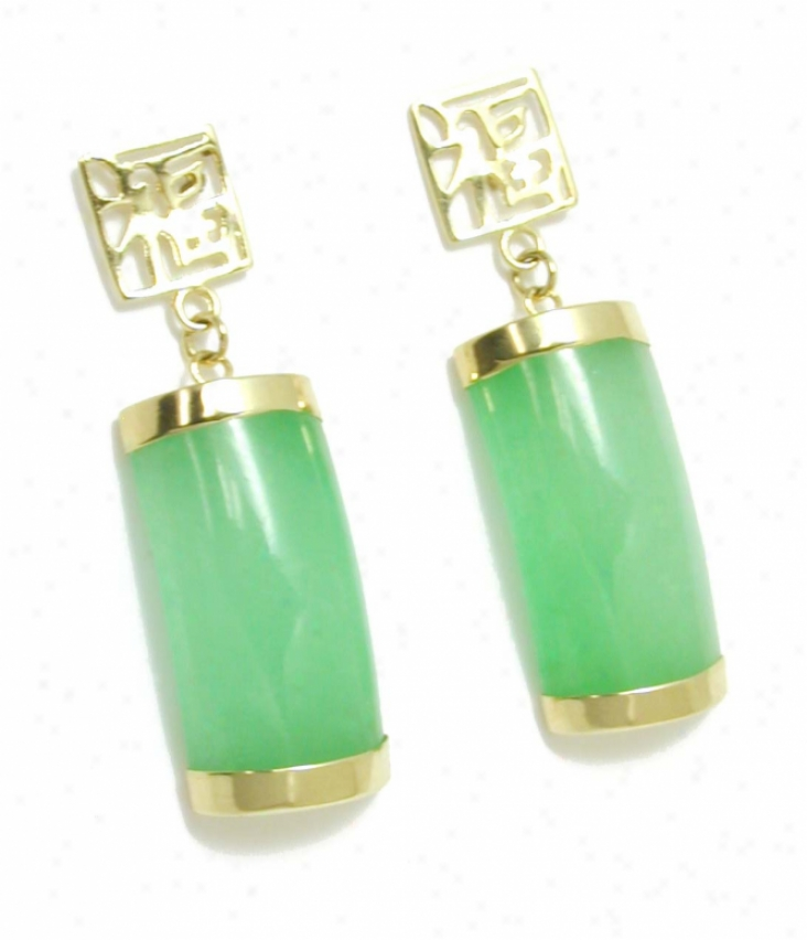 Green Jade Segment Drop Earrings