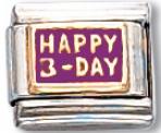 Happy B Day Italian Charm Ring