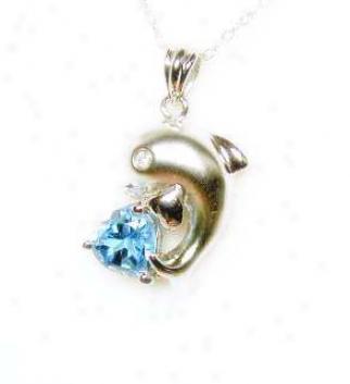 Heart Blue Topaz Satin Dolphin Pendant