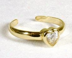 Heart Cubic Zirconia Cz Toe Ring