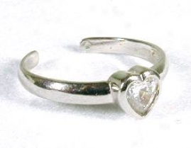Heart Cubic Zirconia Cz White Toe Ring