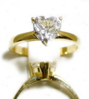 Heart-shape Cubic Zirconia Cz Solitaire Ring
