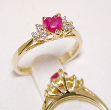 Heart-shape Ruby & Diamond Ring