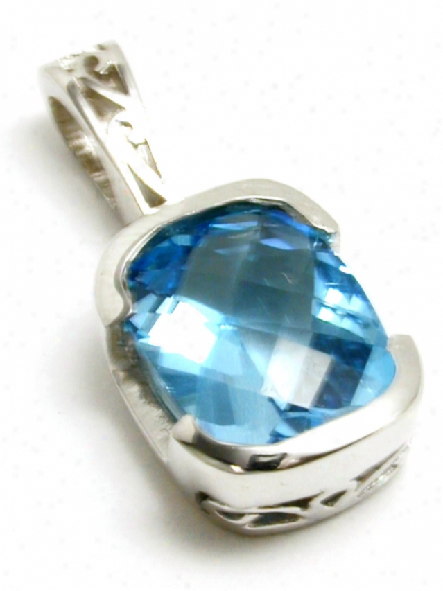 Intricate Cushion Blue Topaz Semi-bezel Pendant