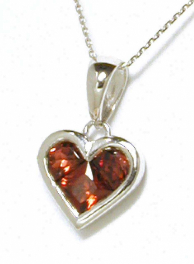 Invisible-set Heart Garnet Hanging appendage