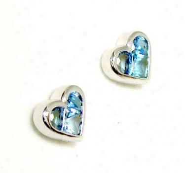 Invisible-set Heart Shaped Blue Topaz Earrings