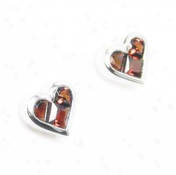 Invisible-set Heart Shaped Garnet Earrings