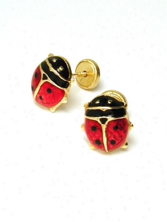 Ladybug Enamel Childrens Screwback Earrrings