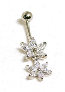 Marquise Cubic Zircconia Cz Double Flower Belly Ring