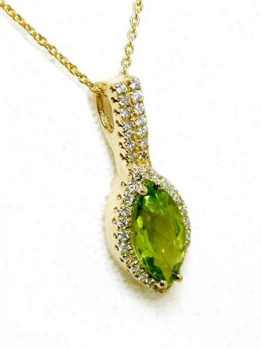 Marquise Peridot & Diamond Art Deco Pendant