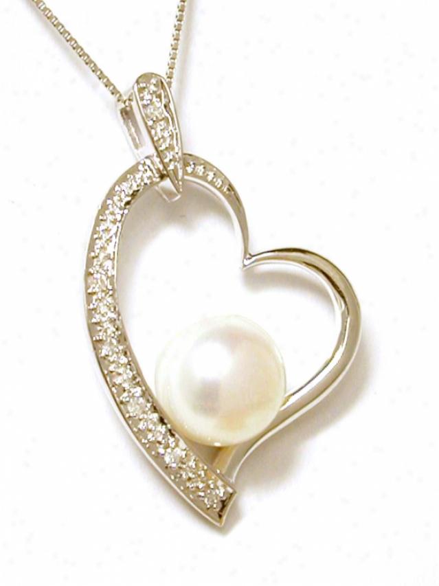 Recent Freshwater Pearl & Diamond Heart Pendant