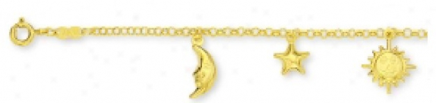 Moon, Star & Sun Ankle Bracelet