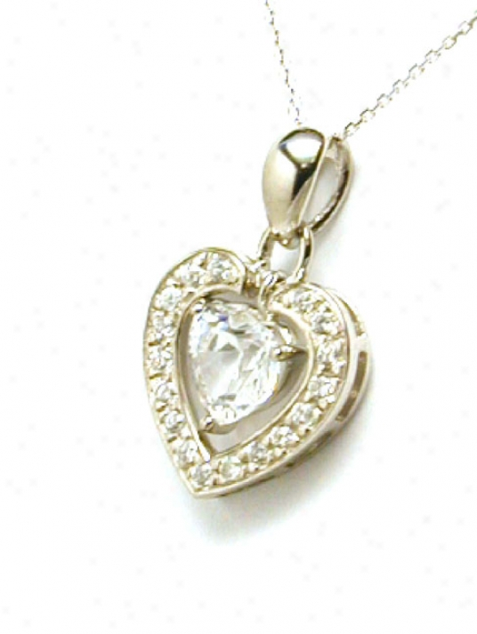 Moveable Double Heart Cubic Zirconia Cz Pendant