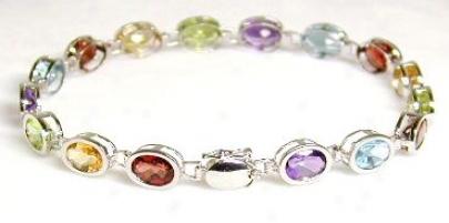 Multi Gemstone Bezel Bracelet