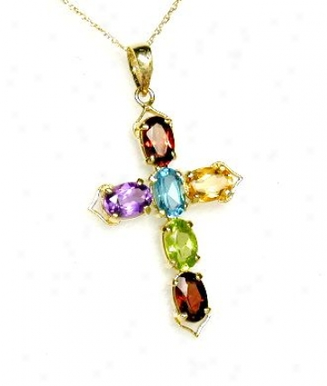 Multi Gemstone Cross Pendant (with Connected series)