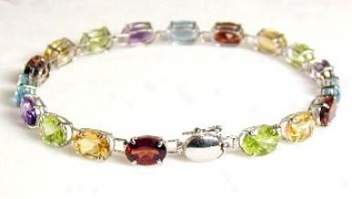 Multi Gemstone Line Bracelet