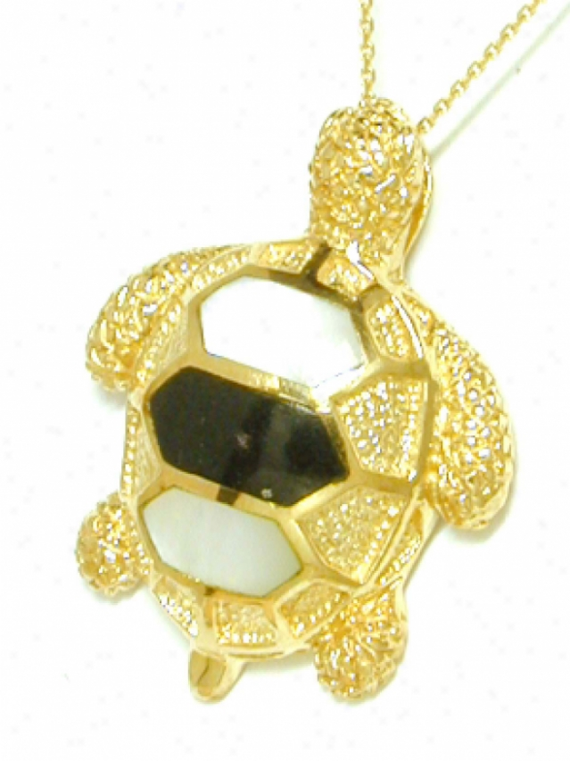 Onyx/ Mother Of Pearl & Black Onyx Turtle Pendant