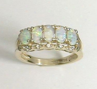 Opal & Diamond Band Ring