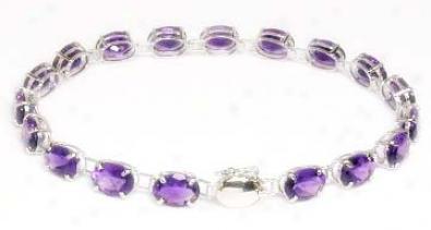 Oval Amethyst Line Bracelet