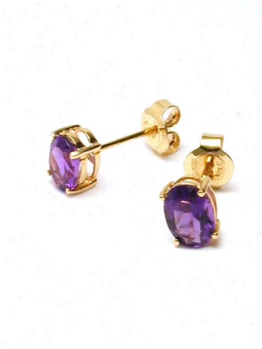 Oval Amethyst Stud Earrings