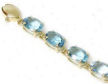 Oval Blue Topaz Line Bracelet