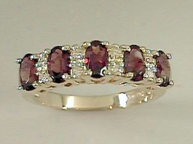 Oval Garnet & Diamond Pyramid Ring