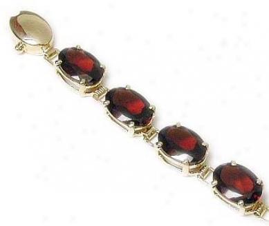 Oval Garnet Line Bracelet