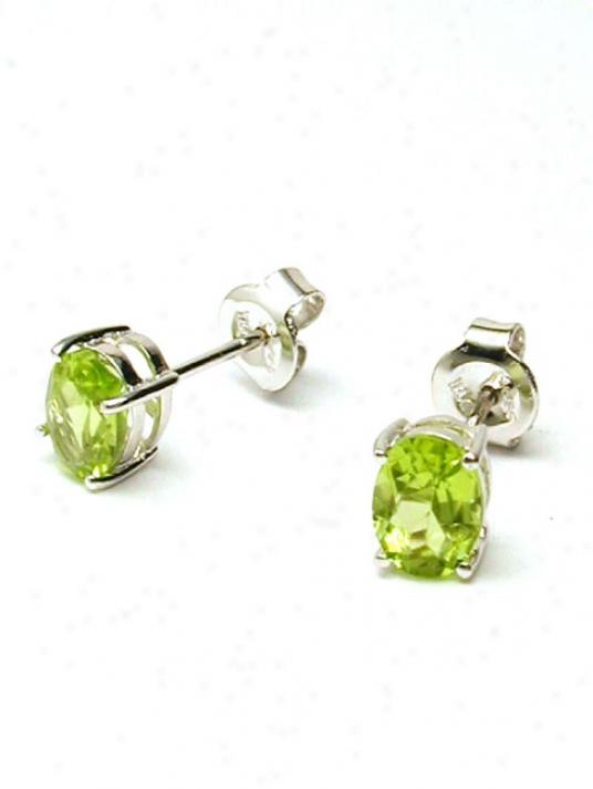Oval Peridot Stud Earrings