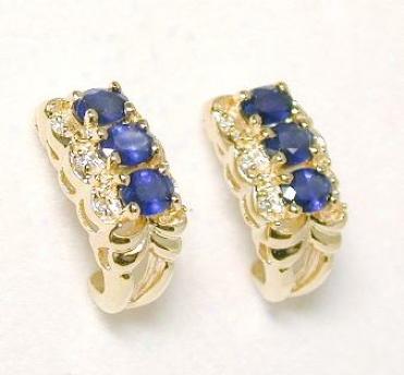 Oval Sapphird & Diamone Earrings