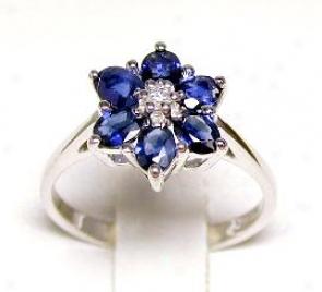 Oval Sapphire & Diamond Flower Ring