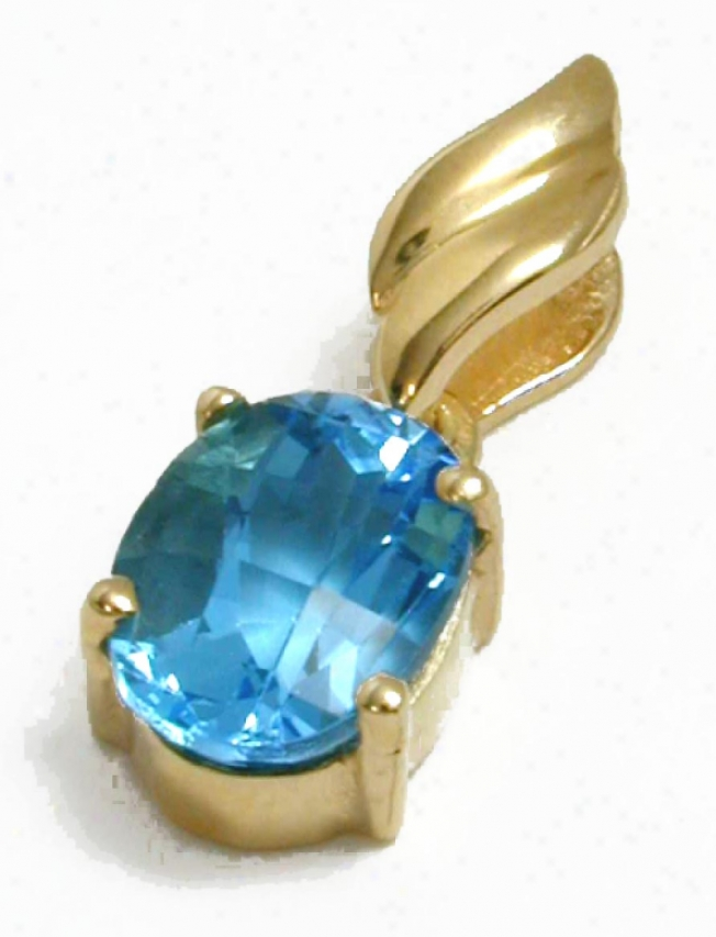 Oval Swiss Blue Topazz Drop Pendant