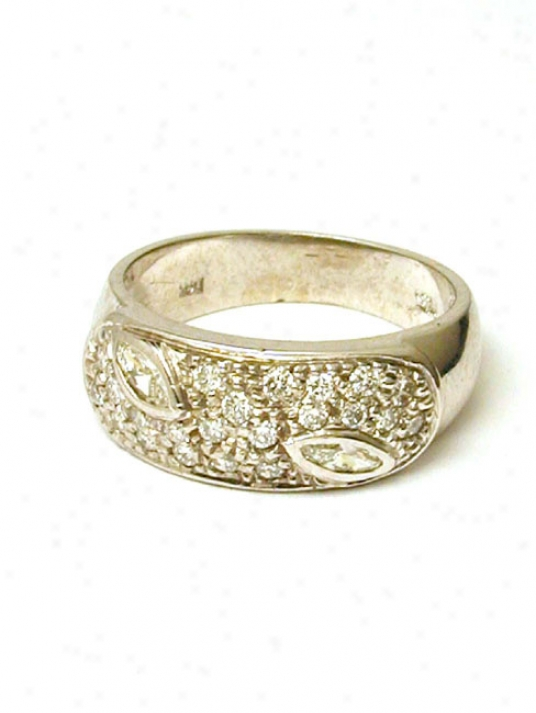 Pave Round& Marquise Diamond Band