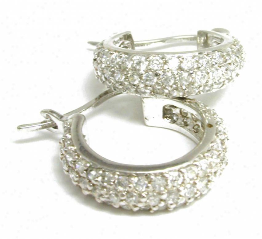 Pave-set Cubic Zirconia Cz Hoop Earrings