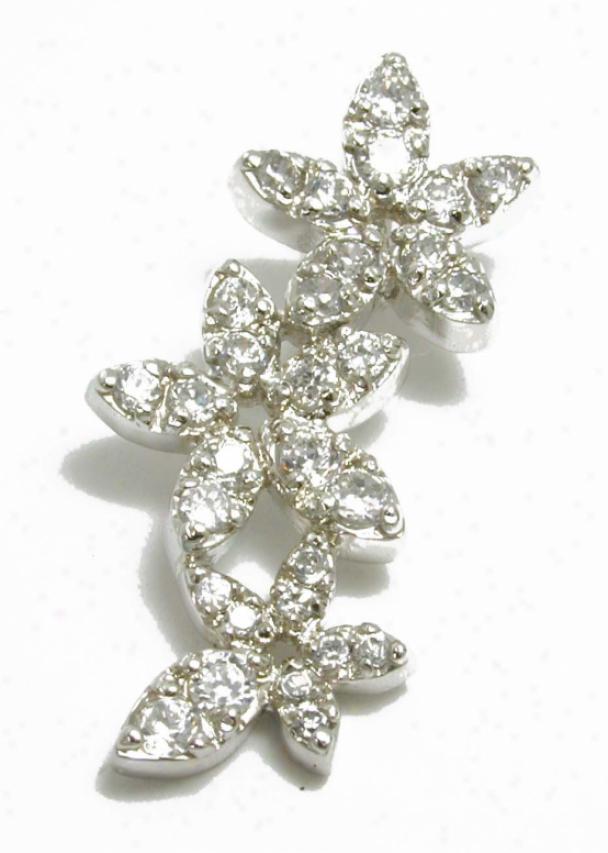 Pave-set Cubic Zirconia Cz Triple Flower Drop Pendant