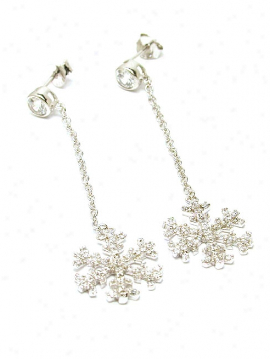 Pave-set Cubic Zirconia Snowflake Drop Earrings