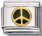 Peace Sign (black) Italian Charm Link