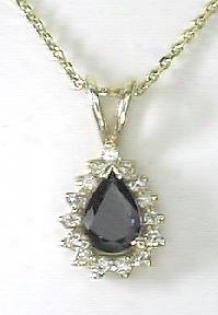 Pear-shape Blue & Diamond Pendant