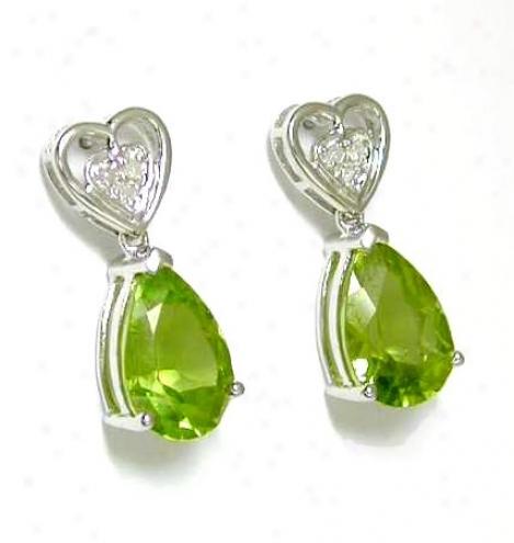 Peridot & Diamond Heart Shaped Be~ Earrings