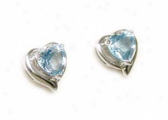 Petite Heart Blue Topaz Framed Earrings