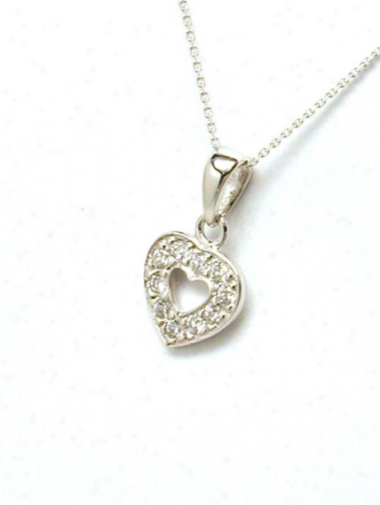 Petite Open Cubic Zirconia Heart Pendant