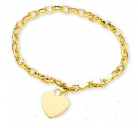Petite Rolo Bracelet W/ Heart Shaped Subdue by a ~