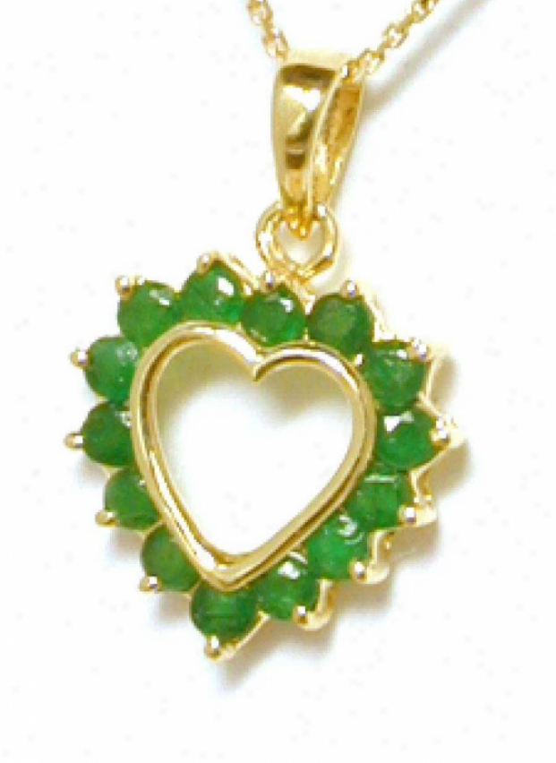 Petite Round Emerald Heart Ear-ring