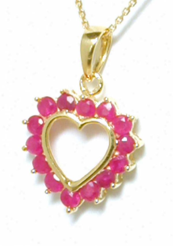 Petite Rounf Ruby Heart Pendant
