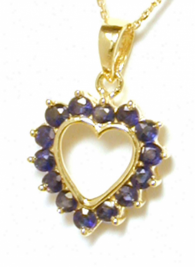 Petite Round Sapphire Heatt Pendant